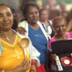 Le vincitrici del concorso Masterchef: da sinistra: Meheret, Zigheweni, Milashu. Il loro squisito zighinì, il piatto nazionale eritreo, ha riscosso la maggioranza del voto dei presenti.